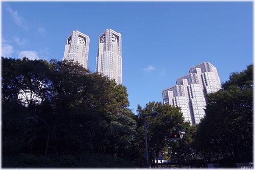 都庁(公園越しに見上げる)