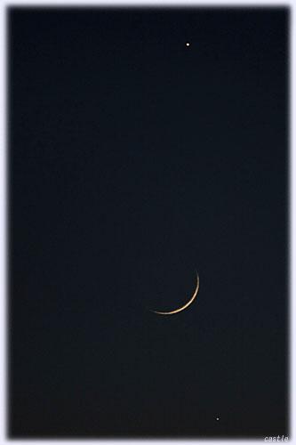 月齢1.8の月と木星と水星