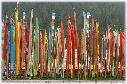 チベット族の村の旗