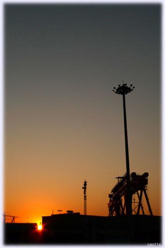 中国での夕焼け