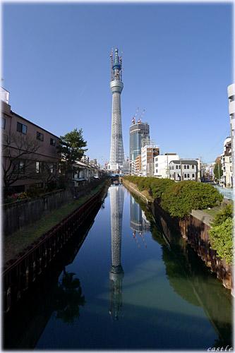 東京スカイツリー、水鏡