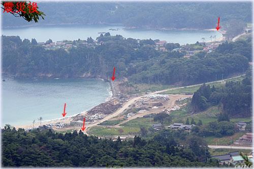 震災後の田中浜海水浴場と小田の浜海水浴場