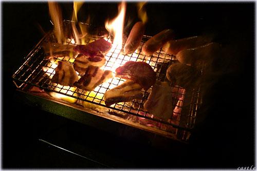 燃える豚バラ