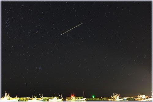紋別港の夜空